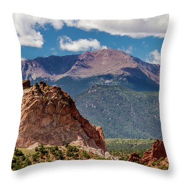 Throw Pillow featuring the photograph Garden Of The Gods And Pikes Peak by Bill Gallagher