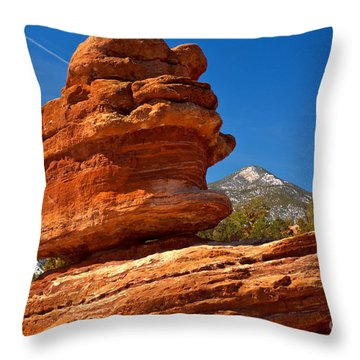 Throw Pillow featuring the photograph Garden Of The Gods Balanced Rock by Adam Jewell