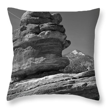 Throw Pillow featuring the photograph Garden Of The Gods Balanced Rock Black And White by Adam Jewell