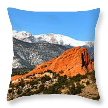 Throw Pillow featuring the photograph Garden Of The Gods Extended Panorama by Adam Jewell