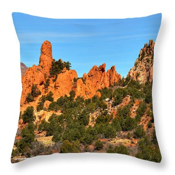 Throw Pillow featuring the photograph Garden Of The Gods High Point Panorama by Adam Jewell