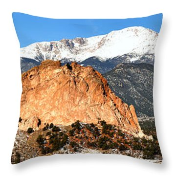Throw Pillow featuring the photograph Garden Of The Gods Medium Panorama by Adam Jewell