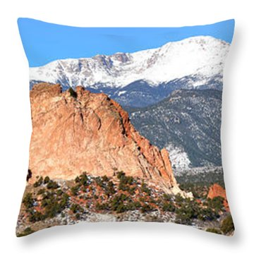 Throw Pillow featuring the photograph Garden Of The Gods Panorama by Adam Jewell