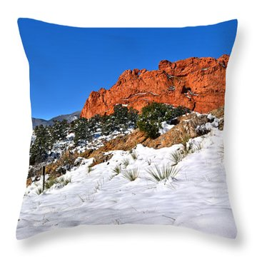 Throw Pillow featuring the photograph Garden Of The Gods Red And White by Adam Jewell