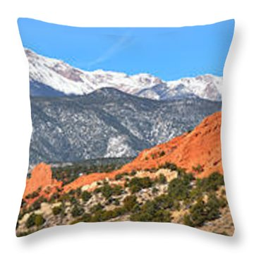 Throw Pillow featuring the photograph Garden Of The Gods Red Rock Panorama by Adam Jewell