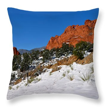 Throw Pillow featuring the photograph Garden Of The Gods Snowy Blue Sky Panorama by Adam Jewell
