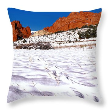 Throw Pillow featuring the photograph Garden Of The Gods Snowy Morning Panorama by Adam Jewell