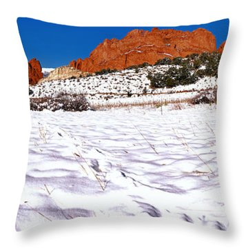 Throw Pillow featuring the photograph Garden Of The Gods Snowy Morning Panorama Crop by Adam Jewell