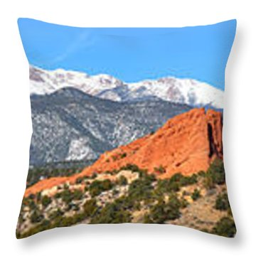 Throw Pillow featuring the photograph Garden Of The Gods Spring Panorama by Adam Jewell