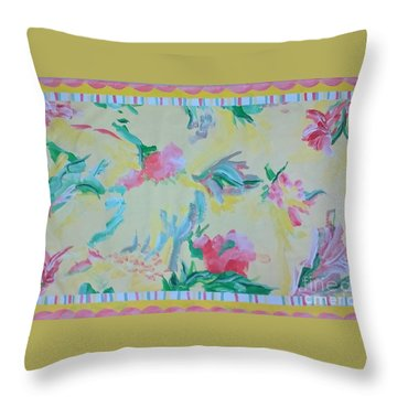 Garden Party Floorcloth Throw Pillow by Judith Espinoza