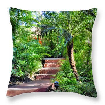 Garden Path Throw Pillow by Jim Walls PhotoArtist
