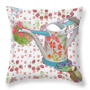 Throw Pillow featuring the mixed media Garden Pleasures by Nancy Lee Moran
