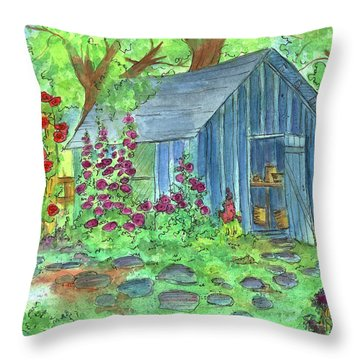 Garden Potting Shed Throw Pillow by Cathie Richardson