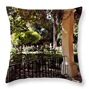 Throw Pillow featuring the photograph Garden Promenade - San Fernando Mission by Glenn McCarthy Art and Photography