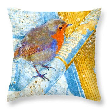 Garden Robin Throw Pillow