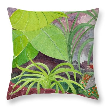 Garden Scene 9-21-10 Throw Pillow by Fred Jinkins