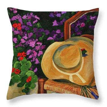 Garden Scene Throw Pillow