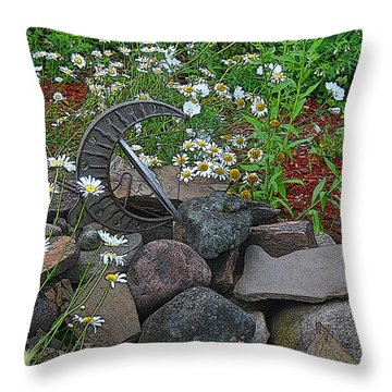 Garden Sundial Throw Pillow