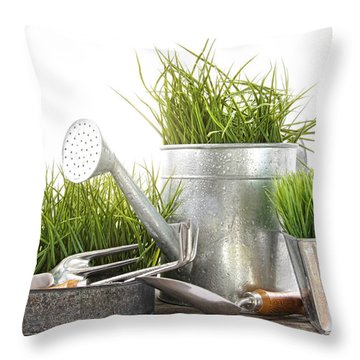 Garden Tools And Watering Can With Grass Throw Pillow
