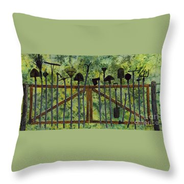 Throw Pillow featuring the painting Garden Tools by Hailey E Herrera
