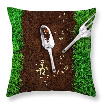 Garden Tools On Earth Throw Pillow by Sandra Cunningham