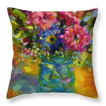 Throw Pillow featuring the painting Garden Treasures by Chris Brandley