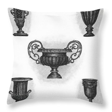 Garden Urns Throw Pillow by Adam Zebediah Joseph