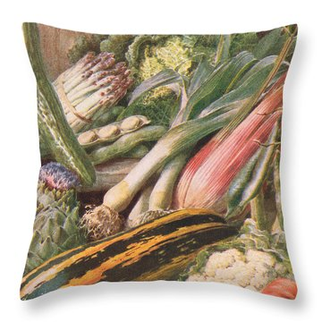 Garden Vegetables Throw Pillow by Louis Fairfax Muckley