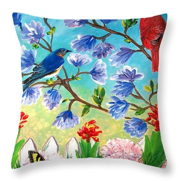 Garden View Birds And Butterfly Throw Pillow