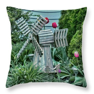 Garden Windmill Throw Pillow