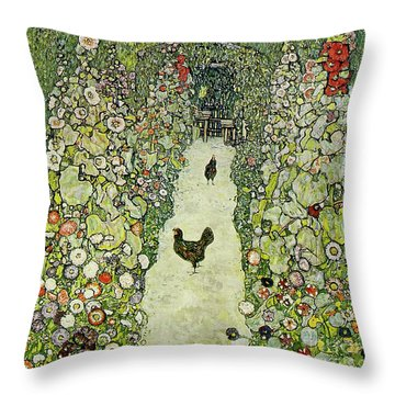 Garden With Chickens Throw Pillow