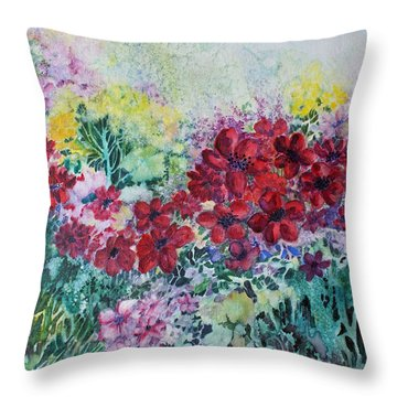 Throw Pillow featuring the painting Garden With Reds by Joanne Smoley