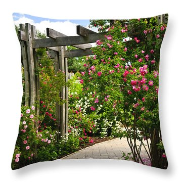 Garden With Roses Throw Pillow