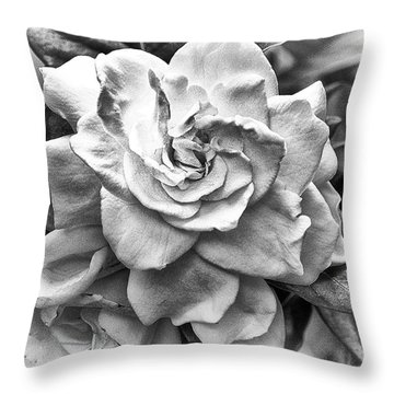 Gardenia Black And White Throw Pillow