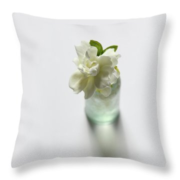 Gardenia In Aqua Bottle On White Throw Pillow