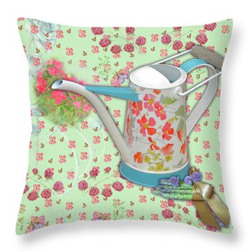 Throw Pillow featuring the mixed media Gardening Gifts by Nancy Lee Moran