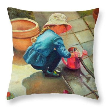 Throw Pillow featuring the painting Gardening by Marlene Book