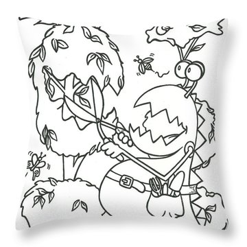Gardening Monster Throw Pillow
