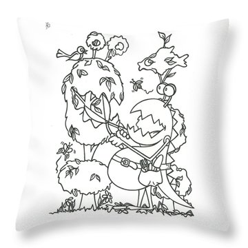 Gardening Monster Throw Pillow
