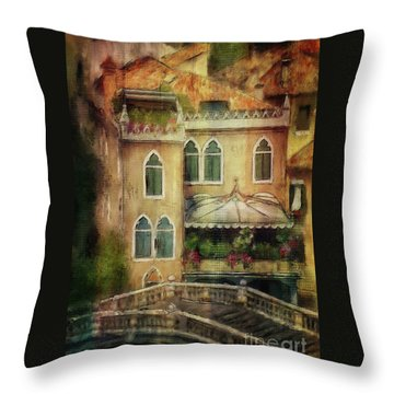 Gardening Venice Style Throw Pillow by Lois Bryan