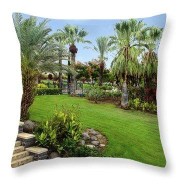Gardens At Mount Of Beatitudes Israel Throw Pillow
