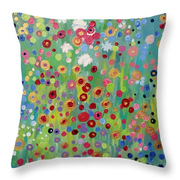 Throw Pillow featuring the painting Garden's Dance by Stacey Zimmerman