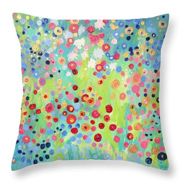 Throw Pillow featuring the painting Garden's Delight by Stacey Zimmerman
