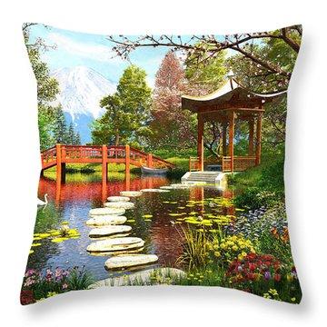 Gardens Of Fuji Throw Pillow by Dominic Davison