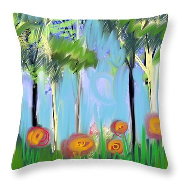 Throw Pillow featuring the digital art Gardenscape 1 by Elaine Lanoue