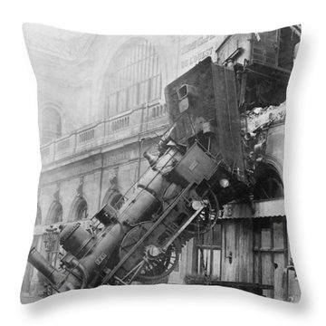 Gare Montparnasse Train Wreck 1895 Throw Pillow by Photo Researchers