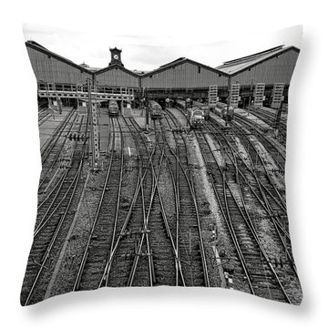 Gare Saint Lazare Throw Pillow by Olivier Le Queinec