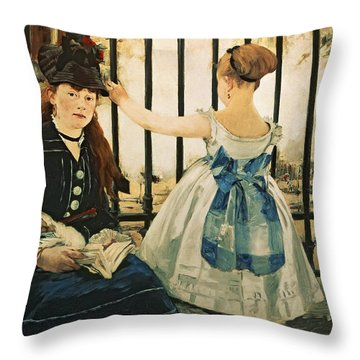 Gare St Lazare Throw Pillow by Edouard Manet