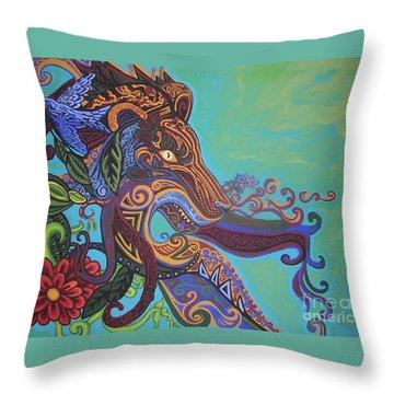 Gargoyle Lion Throw Pillow by Genevieve Esson
