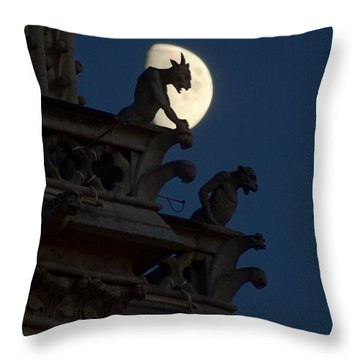 Gargoyle Night Watch Throw Pillow by Matthew Green